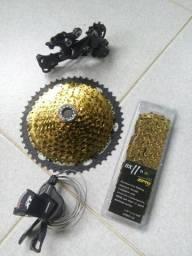 Kit DEORE XT c\ cassete e corrente dourado