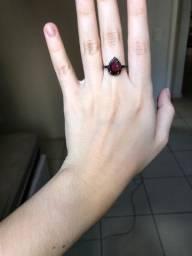 Anel de Prata gota roxa