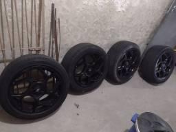 Jogo de rodas 17 furação 4x100 pneus 225 45 17