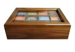 Caixa De Chá Madeira - 8 Nichos - 60 Sachês