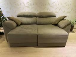Sofa 3 lugares em suede, retratil e reclinavel