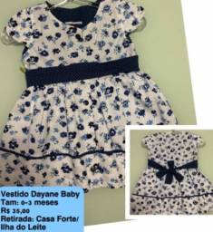 Vestido Dayane Baby tamanho: 0-3 meses