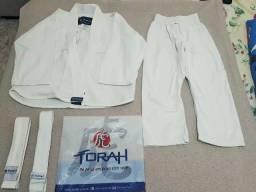 Kimono Torah M00 Branco com DUAS faixas brancas