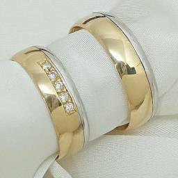 Alianças de ouro 18k bodas com diamantes naturais