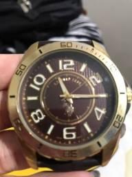 Relógio U.S. Polo original Dourado e Marrom