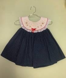Vestido de poá 0-3 meses. Usado 1x