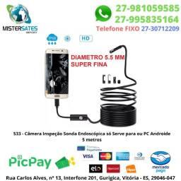 533 - Promoção - Camera Inspeção Sonda Endoscópica 6 Led Android/pc Usb 5m