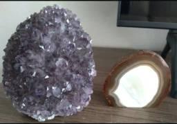 Título do anúncio: Kit Drusa (flor) De Ametista E Geodo Polido De Ágata