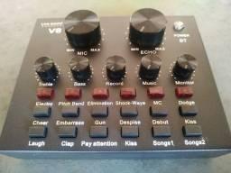 Título do anúncio: V8 Audio Sound Card Usb 5.0 Headset Microfone Webcast Live