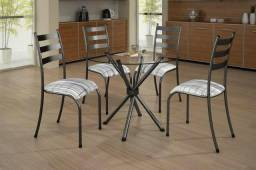 Mesa Lia com tampo de vidro redondo e 4 cadeiras- Faça seu Pedido * Entrega Rápi