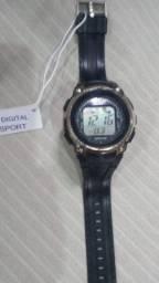 Relógio, pulseira de couro. cordão aço inox
