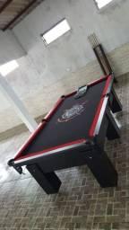 Mesa de Bilhar Preta TX Tecido Preto Bordas Vermelhas Personalizada Corinthians Modelo