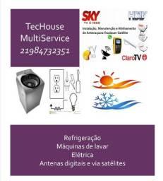 Refrigeração, elétrica residencial, Maquinas de lavar, Antenas Digitais e Via Satélite