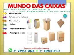 Caixas de papelão e materiais para embalagem de mudanças.