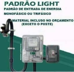 Eletricista Relógio Padrão Light e Poste Galvanizado Homologado Monofásico Trifásico