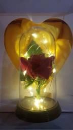 Cúpula Luminária Rosa Bela e a Fera com led