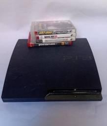 Ps3 com 4 jogos + volante da Multilaser para PC e Playstation com pedal e marcha