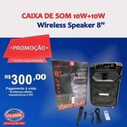 Caixa de som Wireless Speaker 8'' 10w+10w ? Entrega grátis