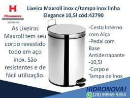Lixeira Maxroll cód:42790 inox c/tampa inox linha Elegance 10,5l