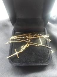 Cordão e crucifixo, ouro 750/18k