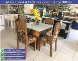 Mesa Viero vidro Branco 90X90 4 Cadeiras Cloud