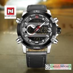 Relógio Naviforce 9097 AnaDigi Caixa de Aço e Pulseira de Couro