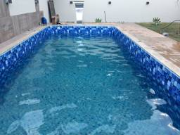 Construção  piscina de Alvenaria revestida no vinil  8.00x3.00x1.40