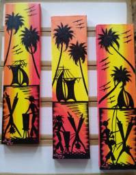 Belo Quadro Pintura decorativa em acrílica sobre tela 10x40 Artista Cacau Bahia.