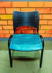 Título do anúncio: Cadeira resistente ISO Empilhável Fixa Escritório Preta