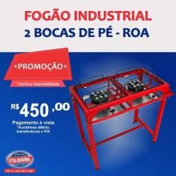 Fogão industrial Alta Pressão 2 Bocas Com Pé / marca ROA -