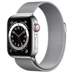 Apple Watch Series 6 (GPS + Cellular) 40mm caixa aço inoxidável e pulseira estilo milanês