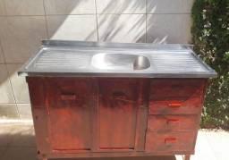 Pia Inox com gaveta e compartimento