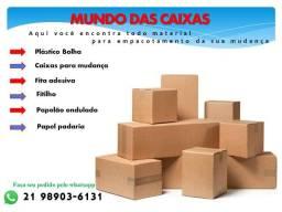 Caixas de papelão e materiais para embalar mudança;