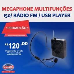 Megaphone Multifunções K150/ Rádio Fm / USB Player ?