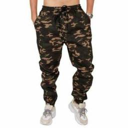 Calças Jeans Camuflada Unissex Jogger C/ Punho