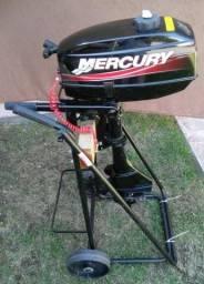 Motor Popa Mercury 3.3 Hp Pouco Uso Bote Caiaque Barco 2014, aceito cartão