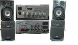 Amplificador com 04 caixas de som