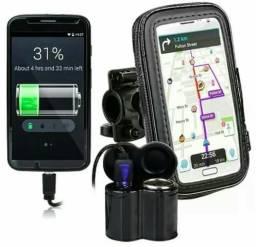 Kit suporte + carregador celular moto gps 'Loja '