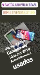 Iphone x silver 256 garantia de 3 meses