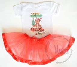 Bodys meu primeiro natal com saia de tule varias cores roupinha de bebe personalizada