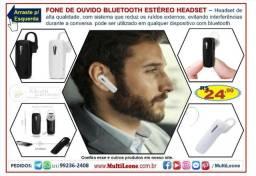 Fone de Ouvido Bluetooth Headset Sem Fio Atende Chamada Celular