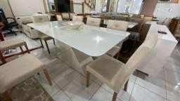 Mesa safira de 8 cadeiras de madeira maciça