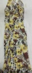 Vestido longo amarelo/estampado. Novo. Para todos os eventos