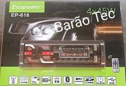 Aparelho de Som Veicular Ecopower Ep-618 Bluetooth, Mp3, Sd, Fm E Auxiliar