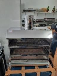 Churrasqueira de bancada em inox 2 grelhas 60x35 cm