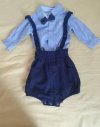 camisa manga longa com bermuda e suspensório para bebê