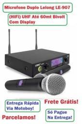 Título do anúncio: Kit de Microfone Duplo (Lelong) Excelente para Shows, Reuniões ou Karaokê -Frete Grátis!