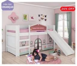 Título do anúncio: Cama infantil com escorregado, estilo cabaninha
