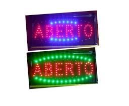 """Placa Led Informativa """"Aberto"""" 110v"""