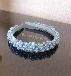 Tiara fina azul